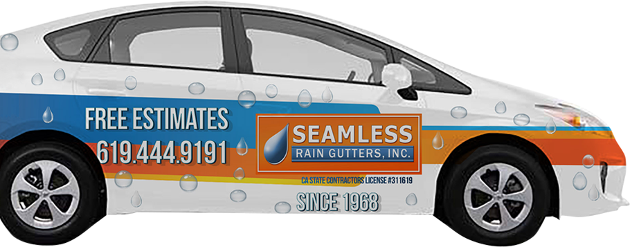 Car with Seamless Rain Gutters Inc banner driving to give a San Diego gutter installation estimate